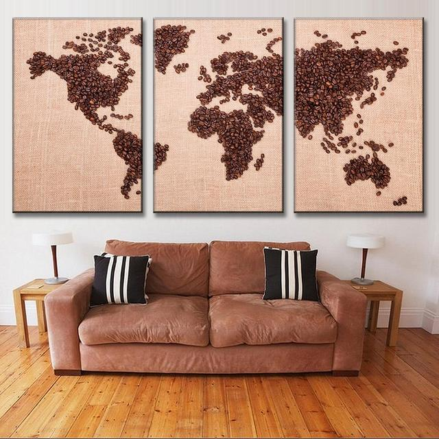 New 3 pcsset creative coffee bean world map canvas painting fashion new 3 pcsset creative coffee bean world map canvas painting fashion print picture for gumiabroncs Choice Image