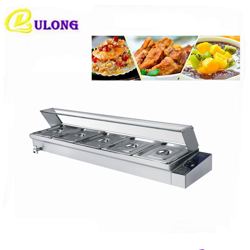 Electric Bain Marie   Table  Food Warmer  Stainless Steel with 5 Pans   buffet equipment  soup stock
