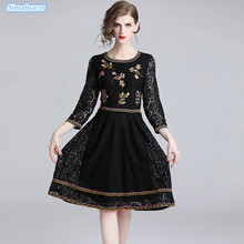 2019 Spring Lace Dress Women Work Casual Slim Fashion O-Neck Party Dresses For Ladies A-Line Embroidery Vestido New Arrival S~XL