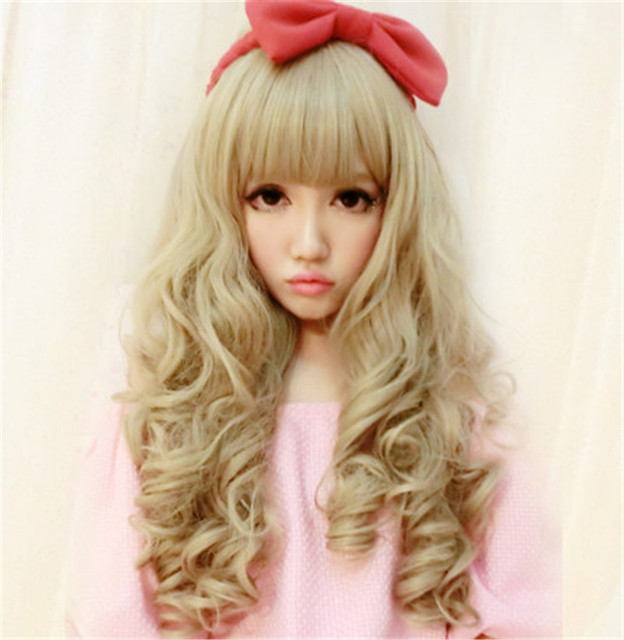 Cheap Lolita Style Harajuku Wig Synthetic Kanekalon Fibre Long Blonde Wigs  Wavy Curly Hair Wigs Parrucca Cosplay Costume Wig d8efafcd2