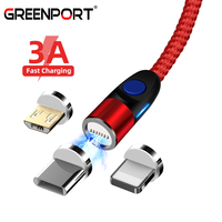 GREENPORT 3 in 1 Round Magnetic USB Mobile Phone Cables for iphone xs Samsung S9 S8 Micro Usb C Magnetic Charger Cord