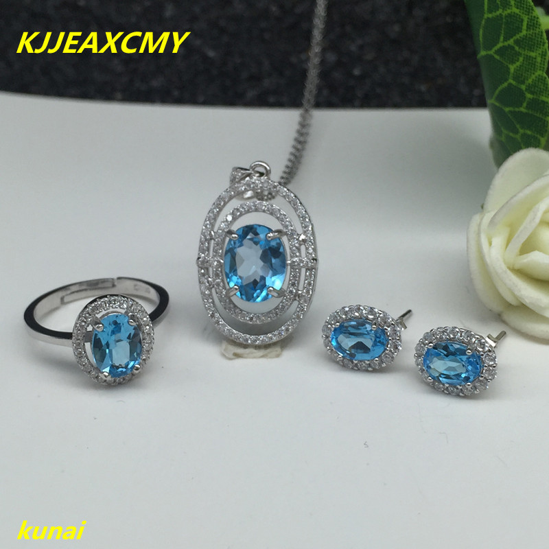 KJJEAXCMY boutique jewels 925 Sterling Silver with natural stone Blue Topaz Ring Pendant Earrings 3 suit jewelry necklace sent цены онлайн