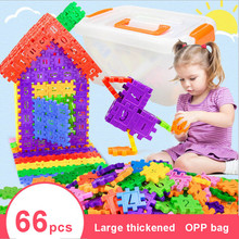 Assembling Color Building Block 66pcs/set  Educational Toy for Children Baby Kids Christmas Gift DIY Creative Bricks Toy children wood rail overpass block toy creative cartoon traffic scene building blocks educational toy for children birthday gift