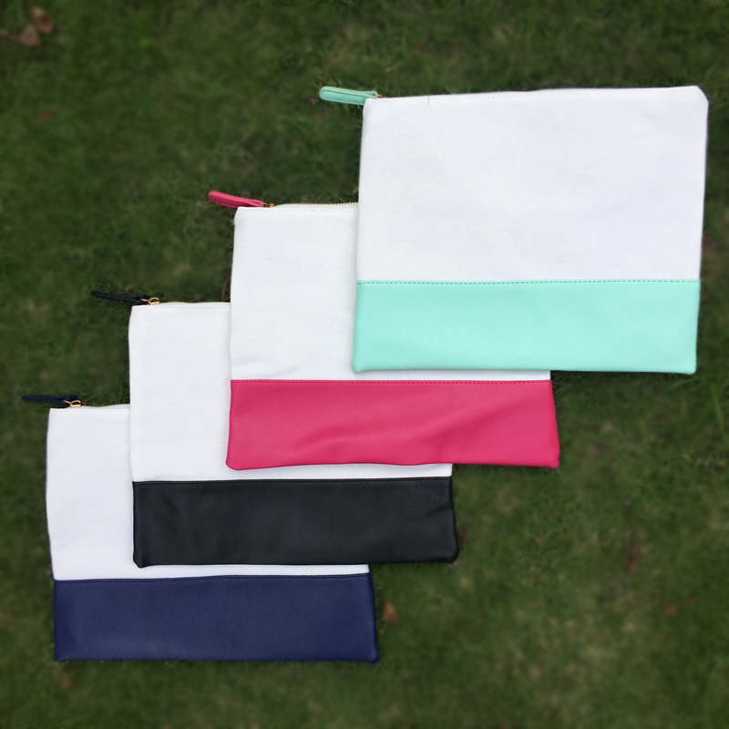 Wholesale Blanks Cotton Canvas PU faux leather Patchwork