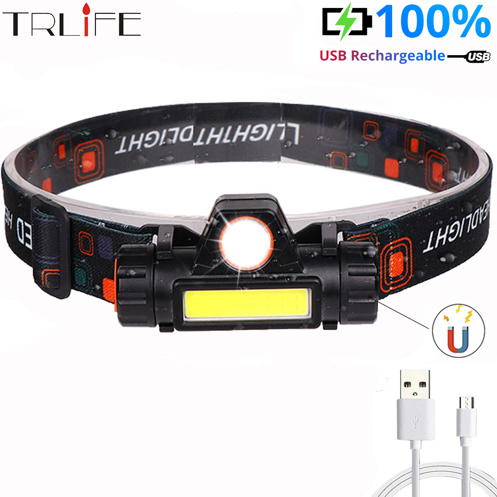 Portable Mini LED Headlamp COB Work Light With Magnet Headlight By Built In 18650 Battery Flashlight Lantern For Camping,fishing