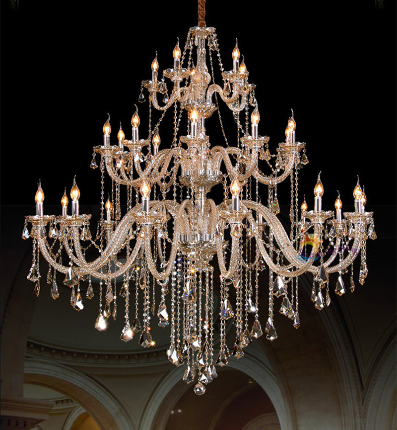 Duplex house grand hall large cognac crystal chandelier lamparas 28-42 pcs Luxury hotel villa E14 modern Led chandelier lighting ...