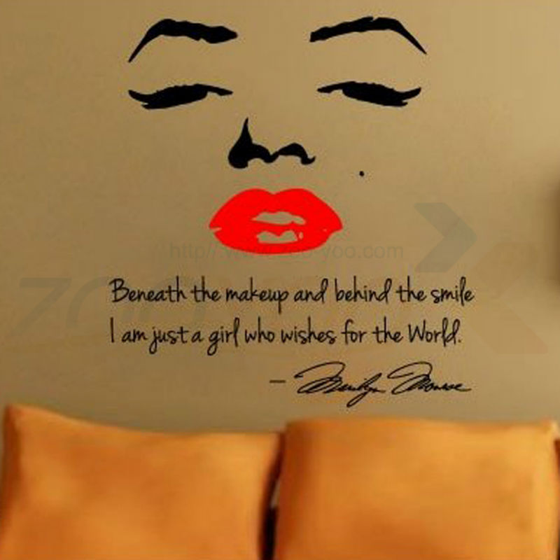Marilyn Monroe Wall Decal Art Home Decor Quote Face Red Lips Wall