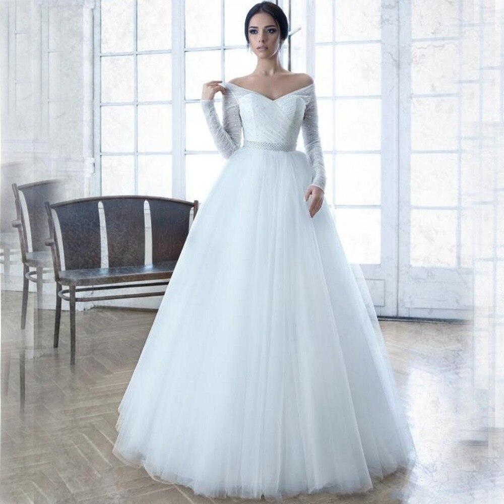 Cheap Elegant Wedding Dresses: Elegant Long Sleeve 2015 Wedding Dresses A Line Off