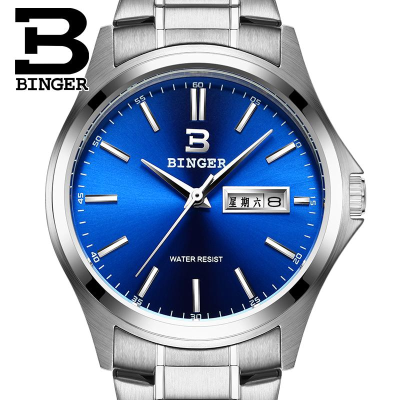 2017 Switzerland luxury watch men BINGER brand quartz full stainless clock Waterproof Complete Calendar Guarantee B3052B7 2016 switzerland luxury watch men binger brand quartz full stainless wristwatches waterproof complete calendar guarantee b3052b6