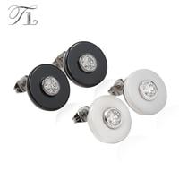 TL Flat Round Orecchini Realizzati con Black & White Ceramic Superficie liscia Intarsiato Grande Zircone In Acciaio Inox Ear Pin Ceramica orecchini