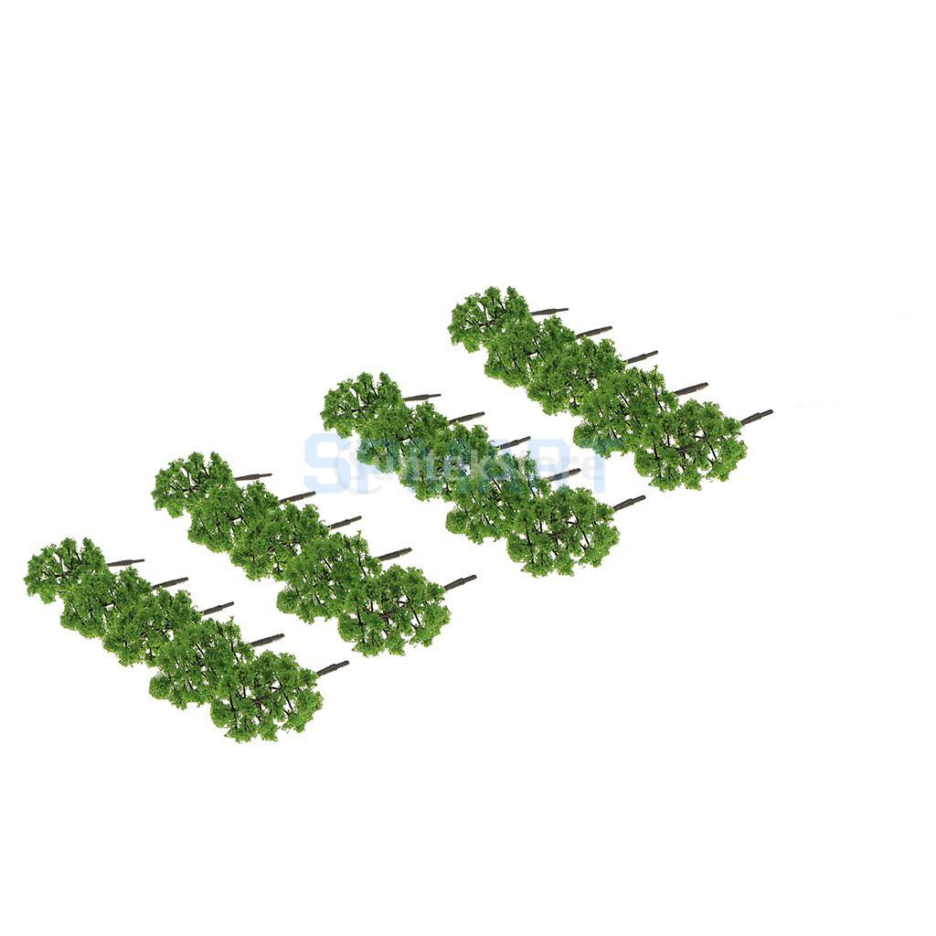 120pcs Painted Model Green Trees+Passenger Figures Set for Train Scenery DIY