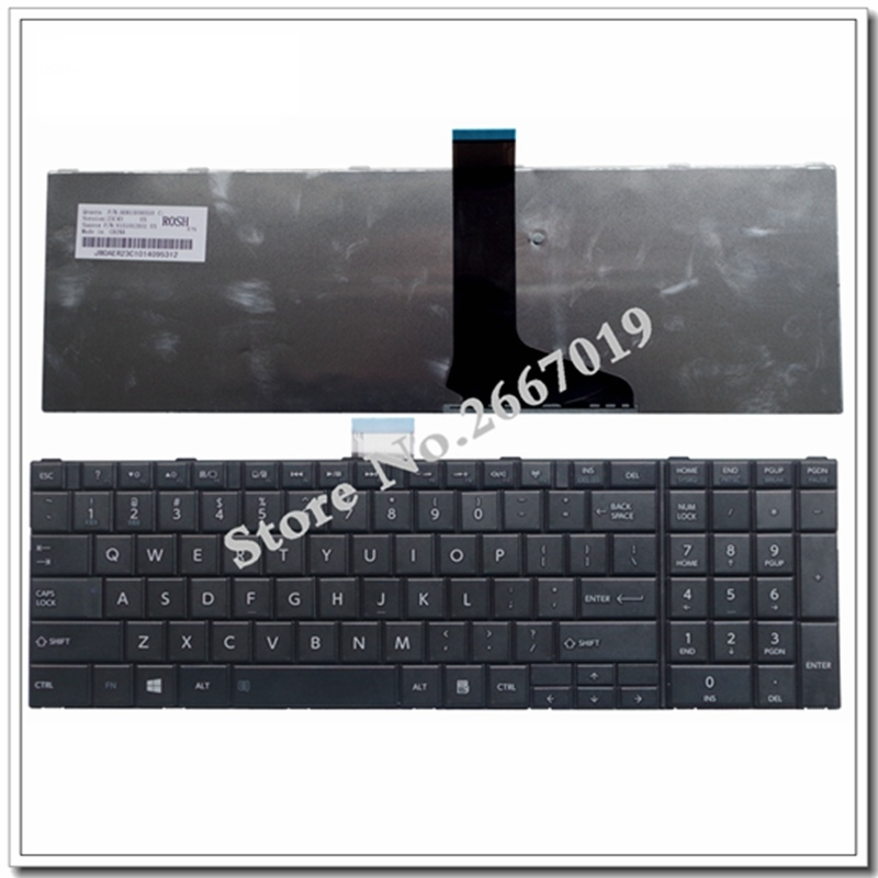 English NEW for TOSHIBA for SATELLITE C850 C850D C855 C855D L850 L850D L855 L855D L870 L870D US Black notebook keyboard image