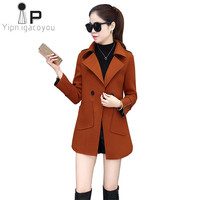 Warm Long Winter Coat Women Wool Coat 2018 Harajuku Large size Slim Elegant Overcoat Woolen Coats Autumn Red Female Outerwear