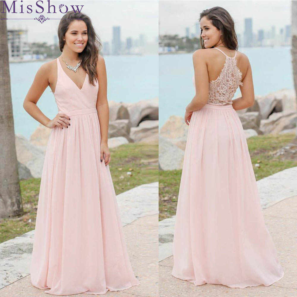 d4922b4d5ad0 Custom-made Sexy Long Chiffon Lace Bridesmaid Dresses Pink Wedding Party Dresses  Beach Bridesmaid Gowns