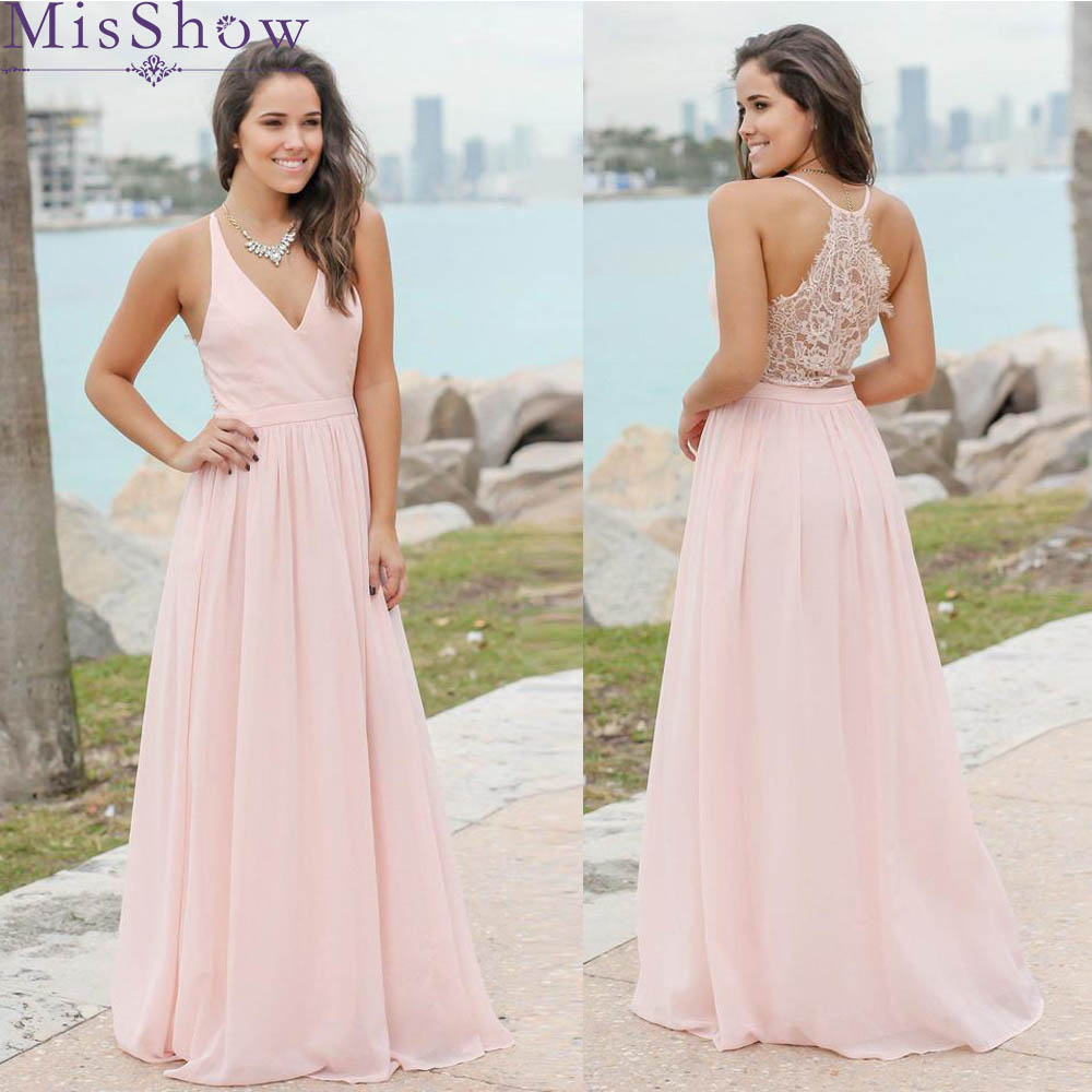 Custom-made Sexy Long Chiffon Lace   Bridesmaid     Dresses   Pink Wedding Party   Dresses   Beach   Bridesmaid   Gowns Vestidos de casamento
