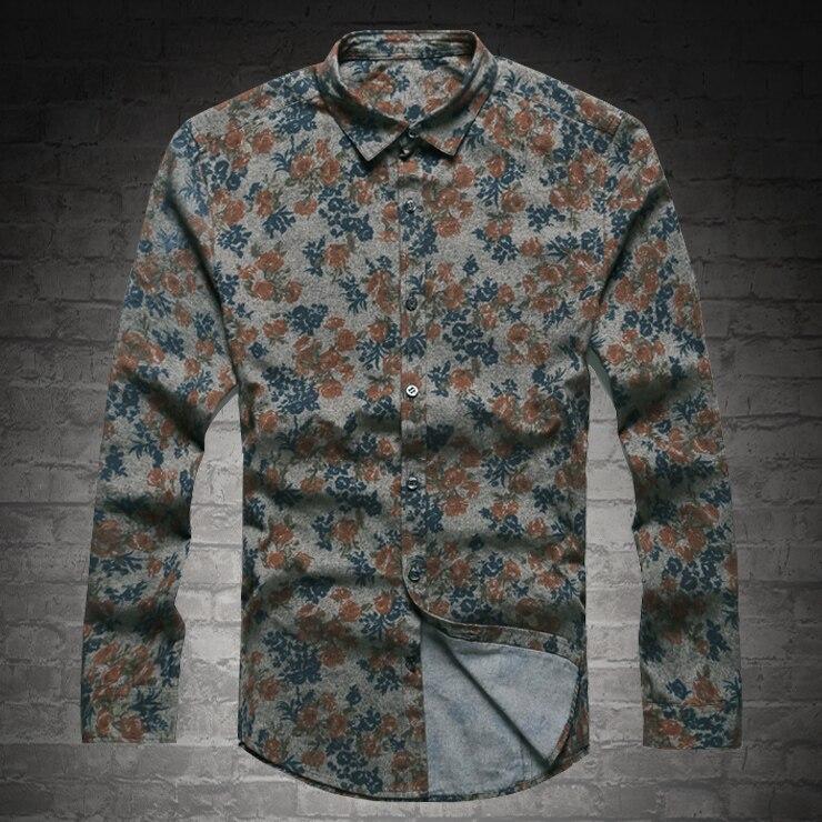 Image 2 - New Fashion Casual męska koszulka z długim rękawem europa Style Slim Fit koszula mężczyzna wysokiej jakości bawełna Floral koszula S2124fit shirtfashion men clothesmen clothes -