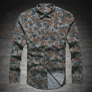 Image 2 - Yeni Moda Casual Erkek Gömlek Uzun Kollu Avrupa Stil Slim Fit Gömlek Erkekler Yüksek Kalite Pamuk Çiçek Gömlek S2124