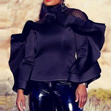 Falbala Plain Women Blouses 2019 Summer Fashion Standard Long Sleeve Black Blouse Elegant Lady Office Tops Female Shirt plain lace patchwork falbala blouse
