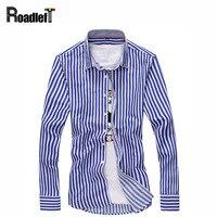 New 2018 striped shirt Men cotton long sleeve casual shirts Mens dress slim fit social shirt man clothing plus size 4-5 XL shirt