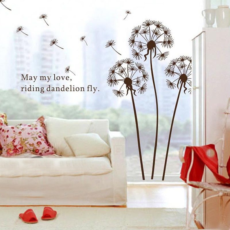 Aliexpress.com : Buy DIY Flying Dandelion Flower Butterfly Wall Stickers  Living Room Bedroom Wall Art Home Decor Decals Backdrop Mural From Reliable  ... Part 18