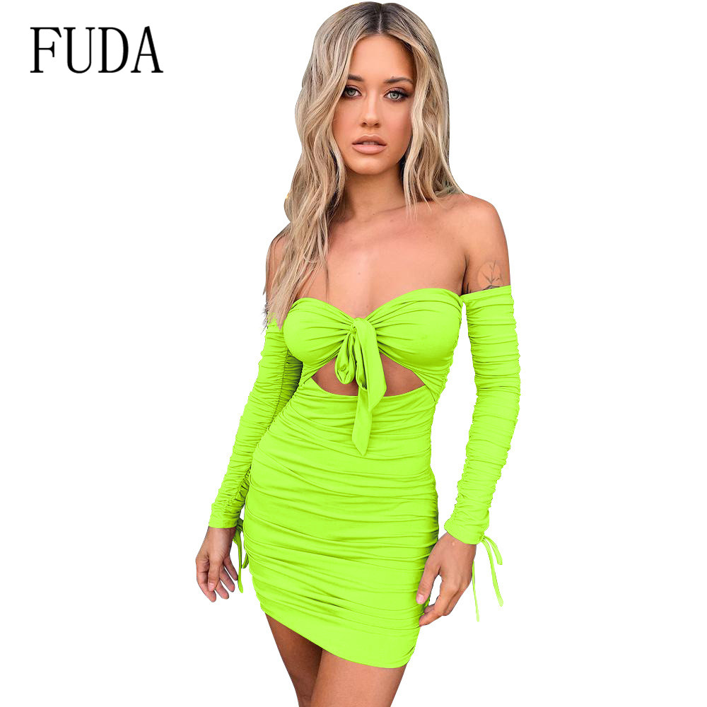 FUDA Off Shoulder Sexy Backless Women Dress Strapless Long Sleeve Lace-up Bodycon Party Dresses Vestidos Club Mini