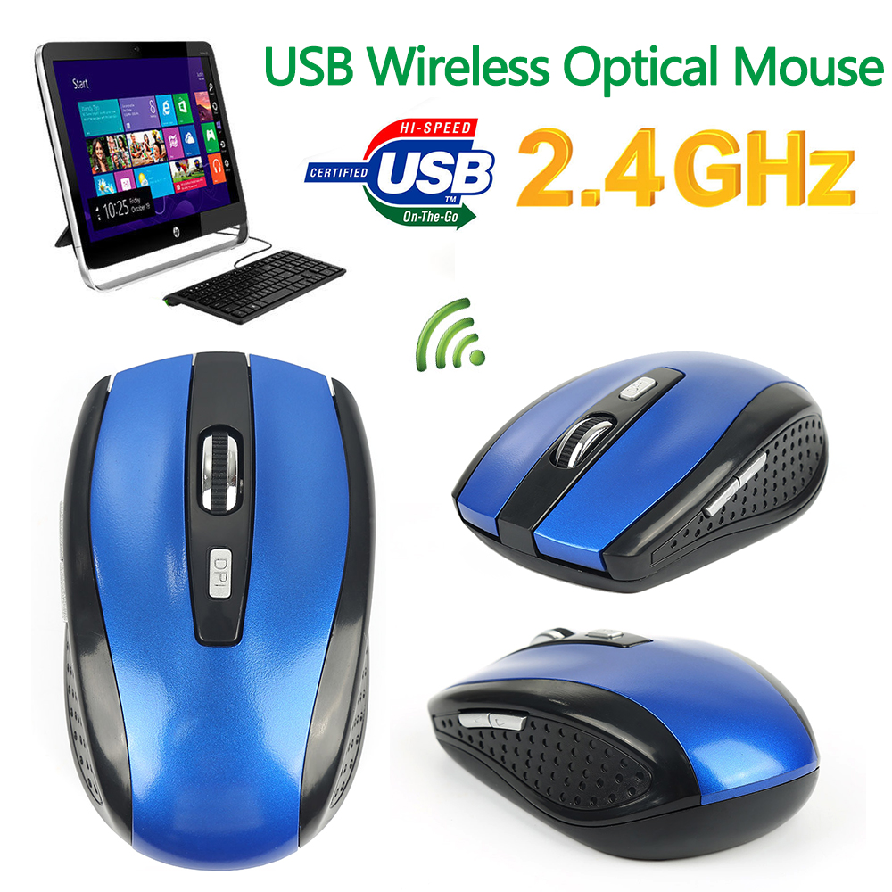 USB Wireless Mouse 1600DPI Adjustable USB 3.0 Receiver Optical Computer Mouse 2.4GHz Ergonomic Mice For Laptop PC Mouse