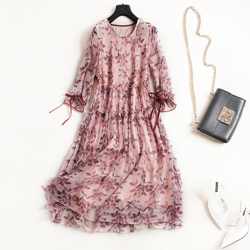 Spring-Summer High-end Silk Dress Euro-American fashionable sweet dress with floral print and three-quarter sleeves