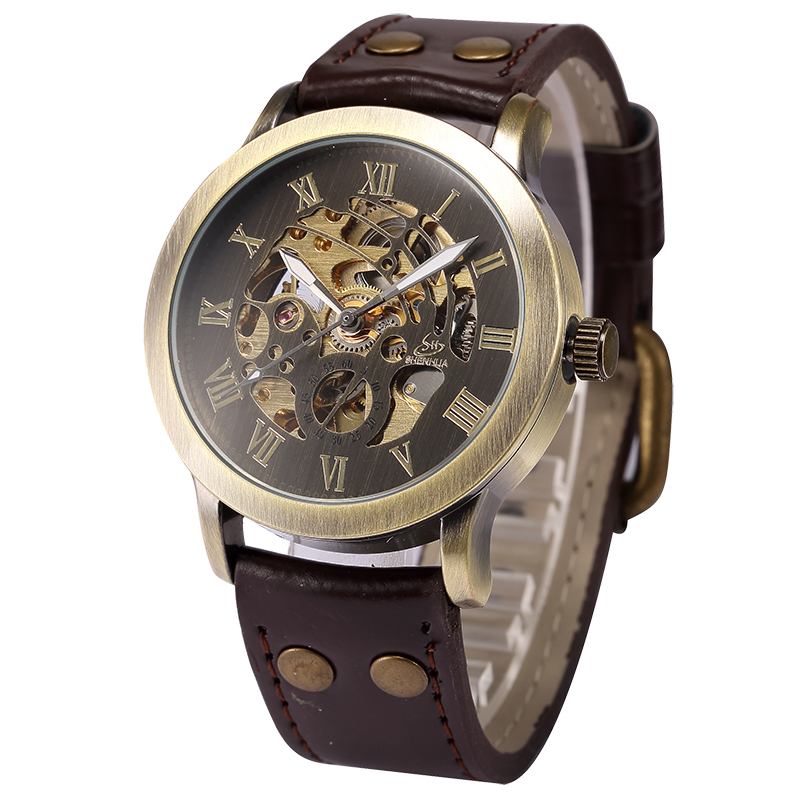 SHENHUA Vintage Design Male Clock Skeleton Dial Relogios Auto Mechanical Men's Wrist Watches Casual horloges mannen