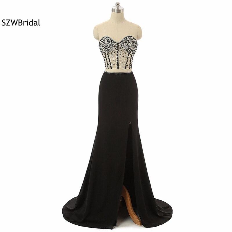 New Arrival Two piece   Prom     dresses   Long 2019 Chiffon Saudi Arabic evening   dress   Plus size Full Beaded vestido de festa