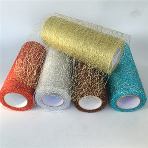 9.2m/roll Organza Tulle Roll Spool Fabric Ribbon DIY Tutu Skirt Gift Craft Party Chair Sash Wedding Party Decoration Gold Silver