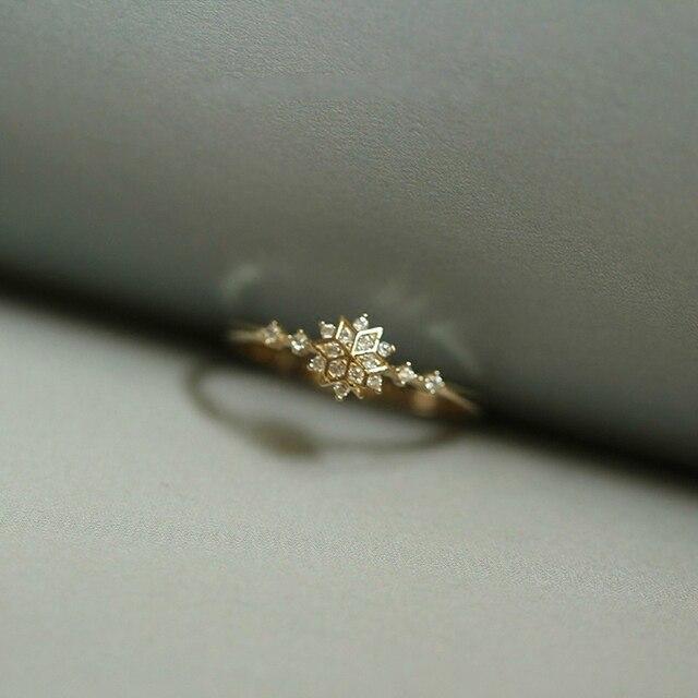 117fca956a13dd Dainty Cute Women's Snowflake Rings Delicate Rings Rings Wedding Jewelry  Snow Flower Floral Finger Rings Fine Jewelry