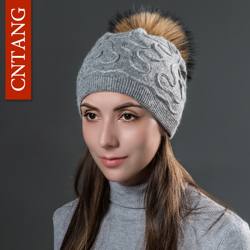 CNTANG 2017 Fashion Silver Coarse Thread Winter Hat Raccoon Pompom Hats Made Of Natural Fur Beanies Women Knitted Warm Wool Caps ibc water tank outlet coarse thread 75mm screwable ball valve inlet thread square coarse fine