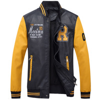 2017 New Embroidery Baseball Jackets Coats Pu Faux Leather Slim Fit Zipper Spring Autumn Casual College
