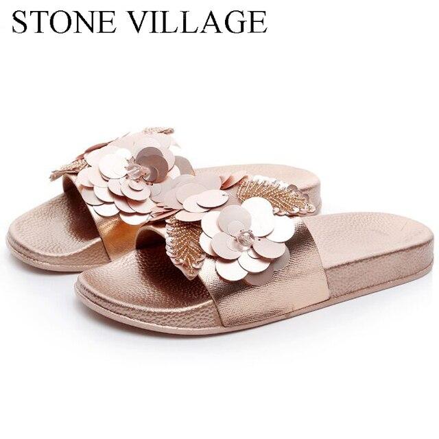 STONE VILLAGE New Bling Women Slipper Korean Flower Sandals Non-Slip Flat  Outside Slides Summer Shoes Cool Beach Shoes 0e6c09d7dc6c