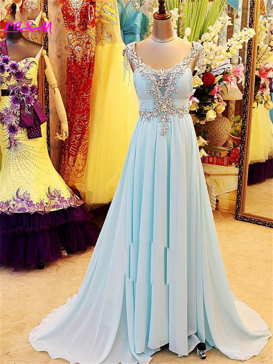 Sky Blue A-Line Chiffon Crystals Long Evening Dresses V-Neck Straps Backless Prom Dress Luxury Beaded Ruffled Formal Party Gowns