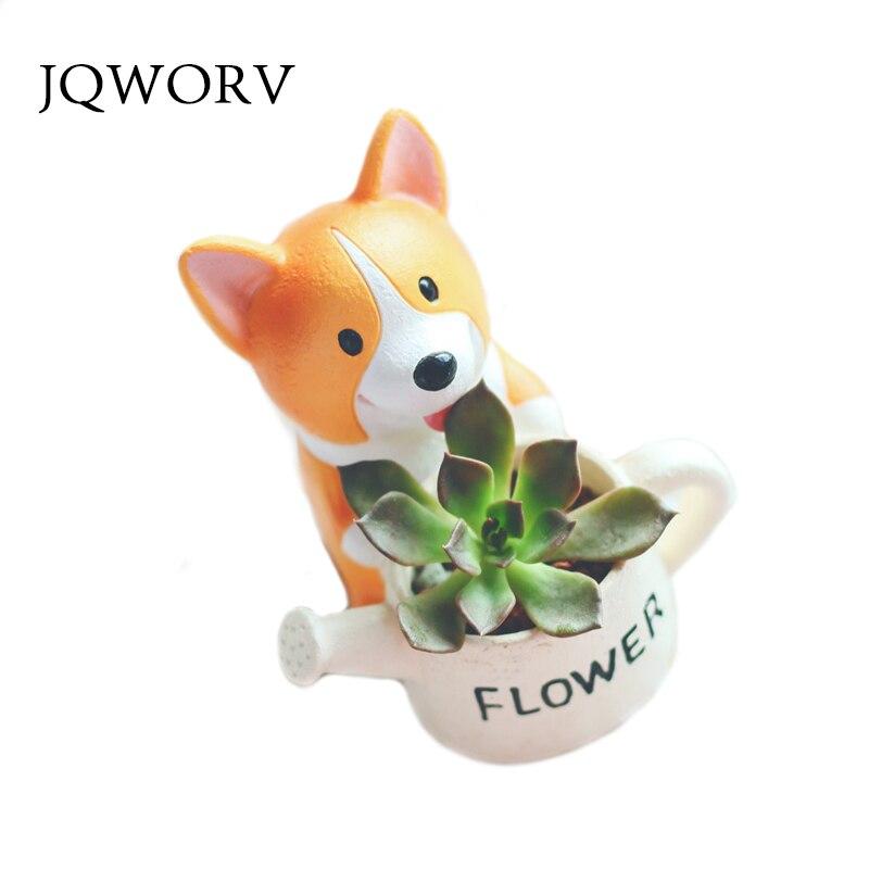 JQWORV Creative Resin Small Flower Pot Planter Corgi Garden Plants Succulents Bonsai Potted Flowers Desk Garden Supplies