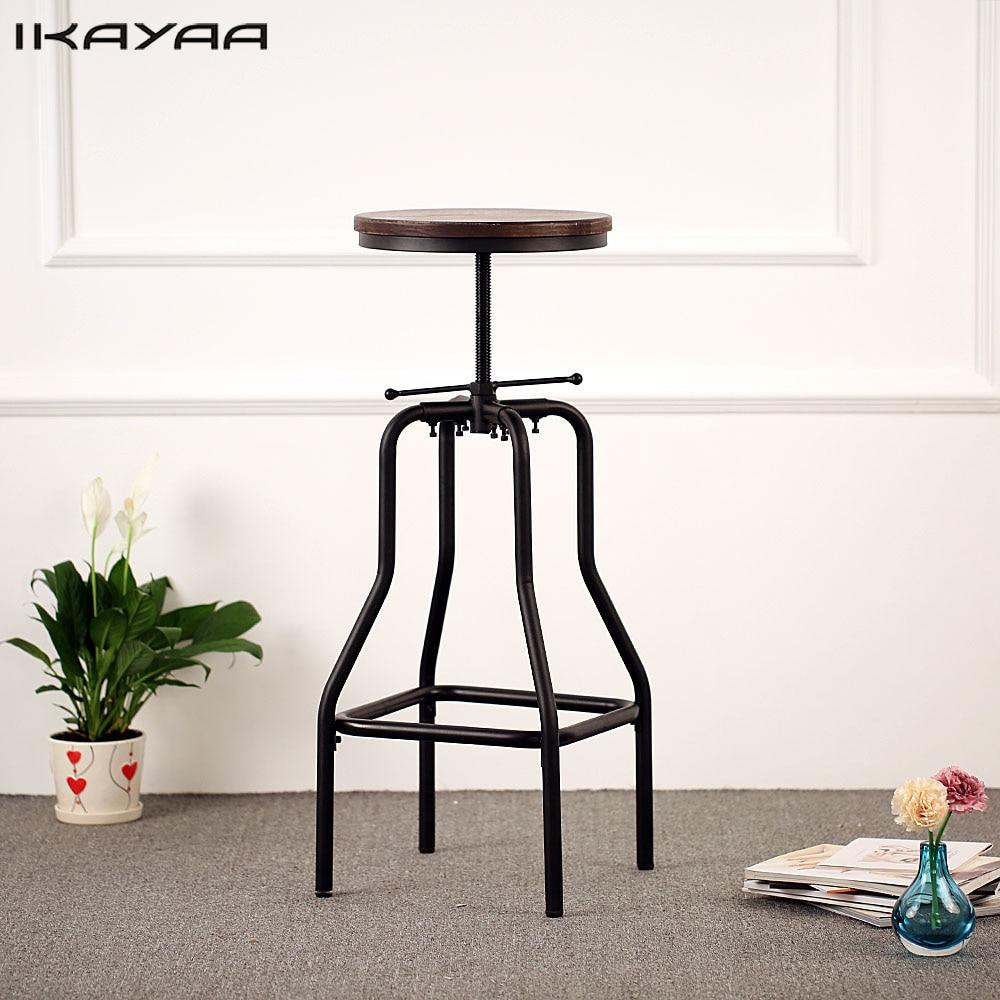 Ikayaa estilo industrial altura taburete giratorio ajustable natural ...