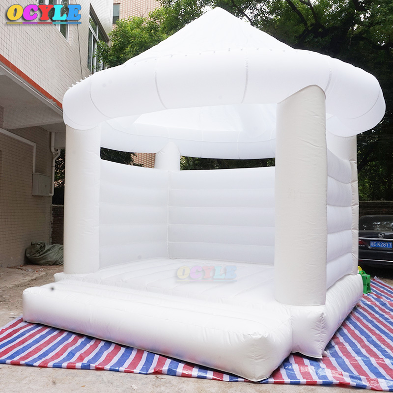 OCYLE white Inflatable Wedding jumper Bouncer Castle /jumping bed/Bouncy bounce House free air shipping to door