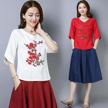 Damskie chińskie bluzki letnie T Shirt damskie nowe bawełniane lniane hafty tradycyjne chińskie bluzki styl orientalny odzież TA1640 tanie i dobre opinie SILKQUEEN COTTON Topy Suknem WOMEN