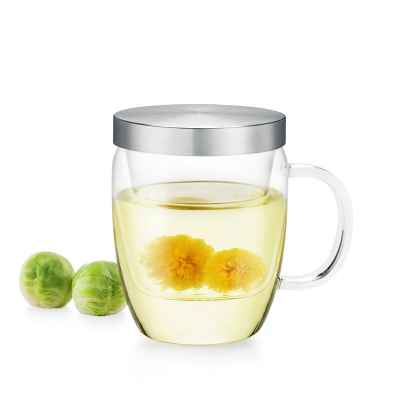 Кришталево чайна чашка з інфузером та кришкою для чаю та кави 360мл, зручна міні-чашка для чаю для офісу та дому
