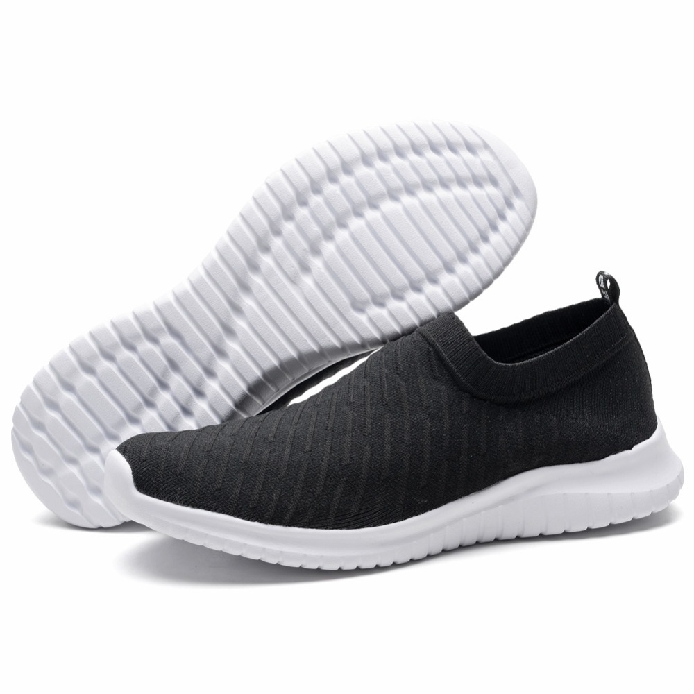 TIOSEBON Comfortable Striped Women Shoes Casual Slip-On Soft Lightweight Running Shoes Sports Knit Workout Sneakers Walking Shoe