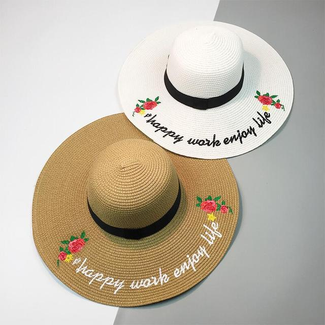 224d40735a7 2017 New Summer Hats For Women Flower Patch Sequin Letter Embroidery Sun  Hat Ladies Large Brim