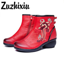 Zuzhixiu-Autumn/Winter Retro folk style zipper female boots genuine leather Pure handmade shoes with embroidery boots,2 colors цена в Москве и Питере