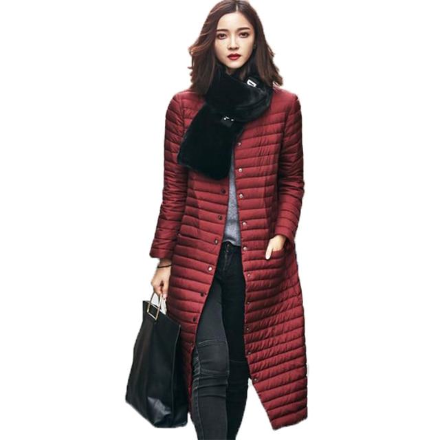 Женщины ultra light пуховик 2017 новый осень зима тонкий тонкий утка вниз куртки куртка твердые длинные верхняя одежда женский пальто SF063