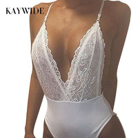 Kaywide Deep V Neck Lace Up Sexy Bodysuit Black Backless Strap Women Swimming Wear 2016 Summer