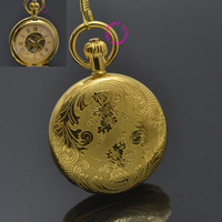 Men Mechanical Pocket Watch Roman Classic Fob Watches Flower Design Retro Vintage Gold Ipg Plating Copper