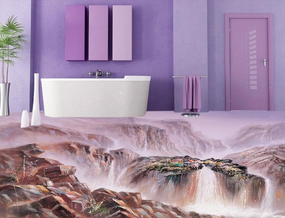 US $28.2 53% OFF|3d pvc tapete bergbach 3D boden wasserdichte tapete für  badezimmer wand boden 3d wallpaper-in Tapeten aus Heimwerkerbedarf bei ...
