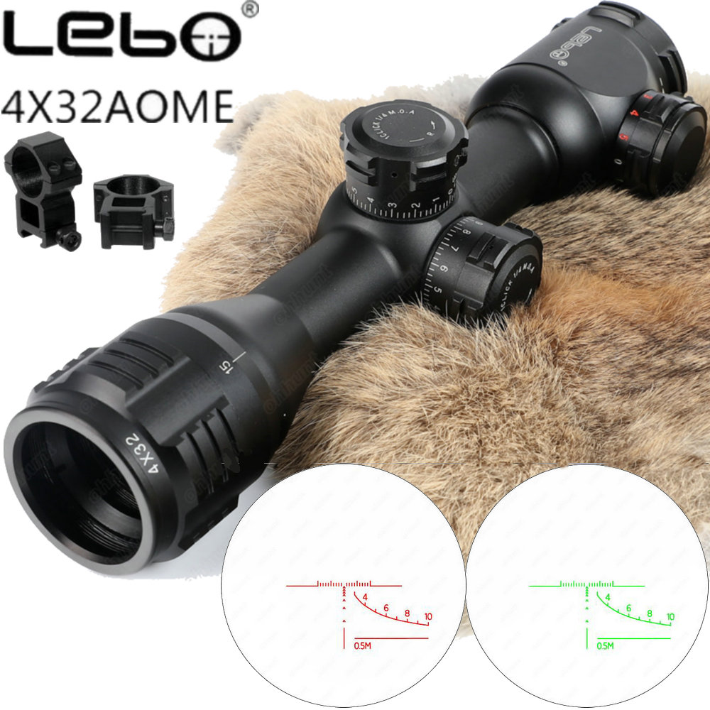 LEBO 4x32 AOME Tactical Optical Sight Glass Reticle Red Green Illuminated Compact Lock Rifle Scope For Hunting Riflescope