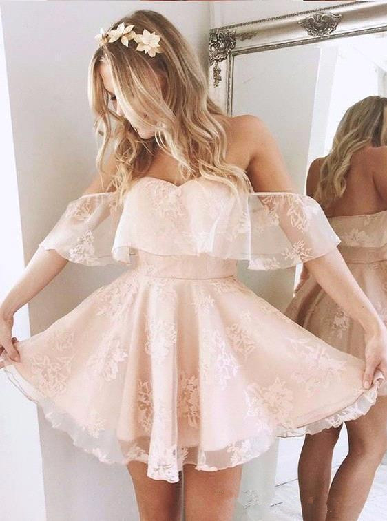 Elegant 2019   Cocktail     Dresses   A-line Off The Shoulder Appliques Lace Short Mini Party Homecoming   Dresses