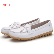 цены Bowtie Genuine Leather Shoes Woman Flats Size 35-44 Round Toe Rubber Ballet Flats Womans Loafers Comfortable Soft Nurse Shoes